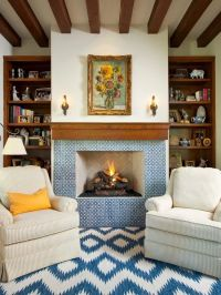 Classically Spanish Hearth and fireplace mantel with ...
