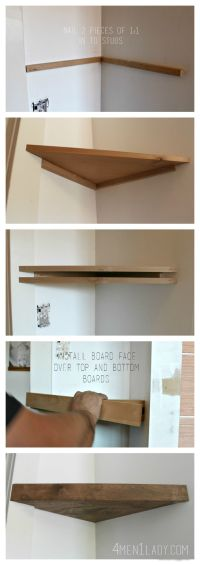How to make corner floating shelves. 4men1lady.com Office ...