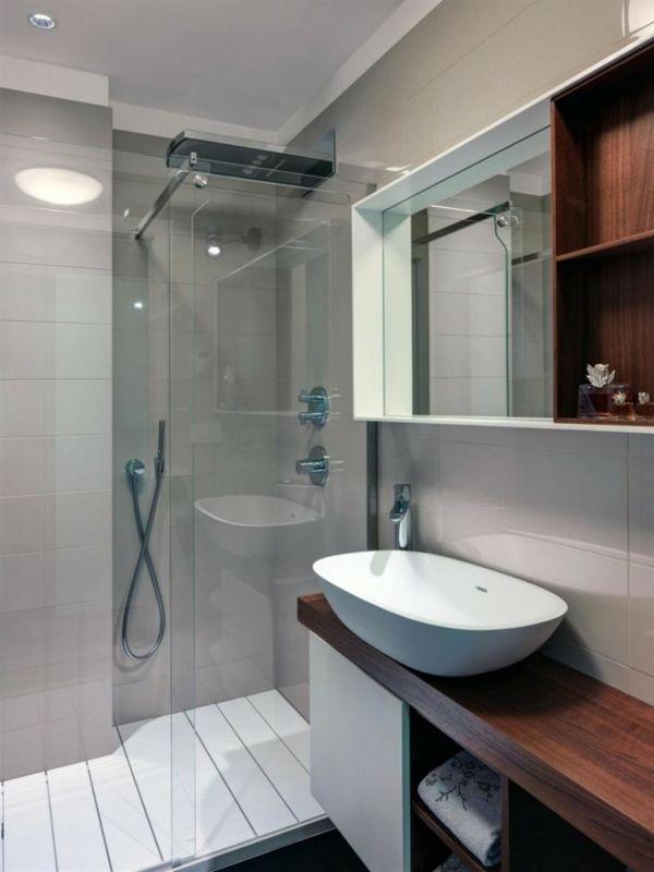 badideen kleines bad dusche weißes waschbecken deckenleuchten - weies badezimmer modern gestalten
