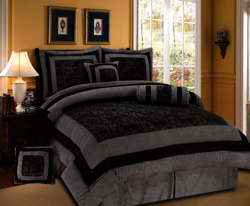 Amazon com 7 pieces black and grey micro suede comforter set bed in