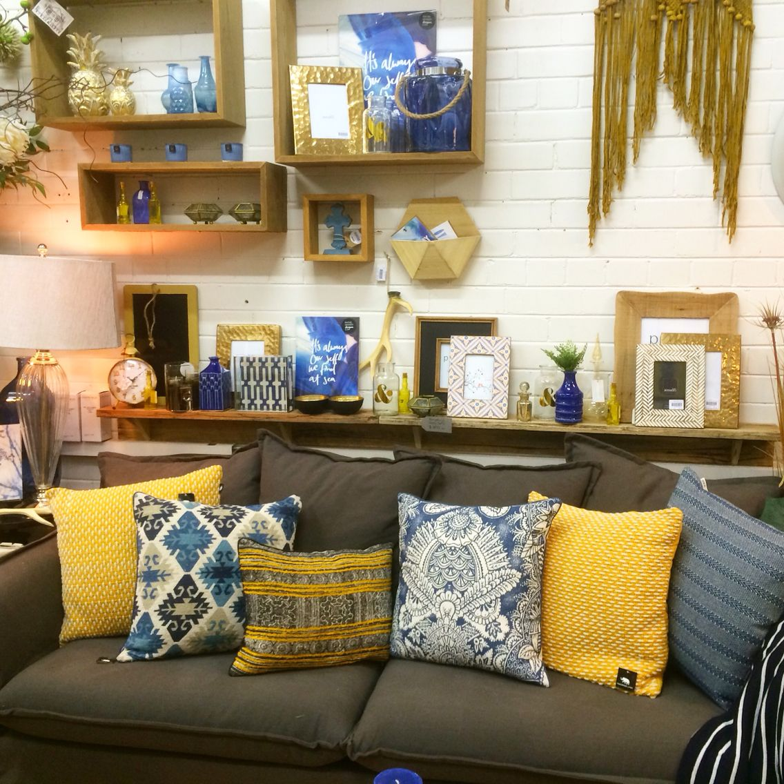 Mustard Accessories For Living Room Mustard And Indigo Shop Display Home Decor And Interiors