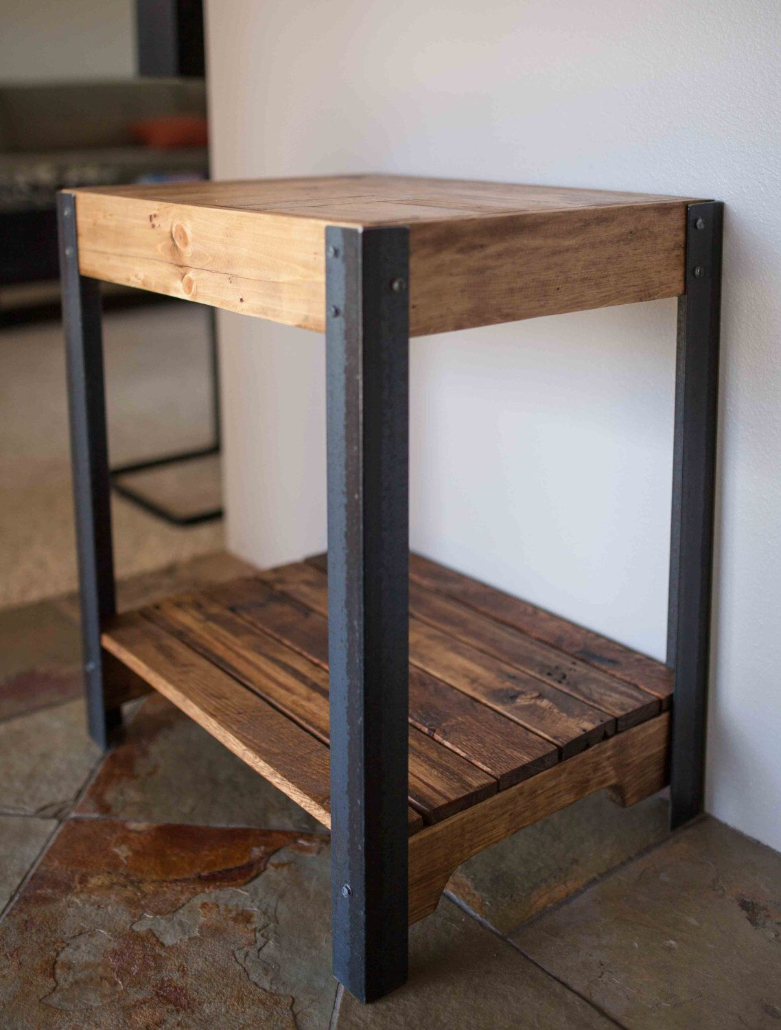 Wood And Metal Side Tables Pallet Wood Side Table With Metal Legs And Lower Shelf