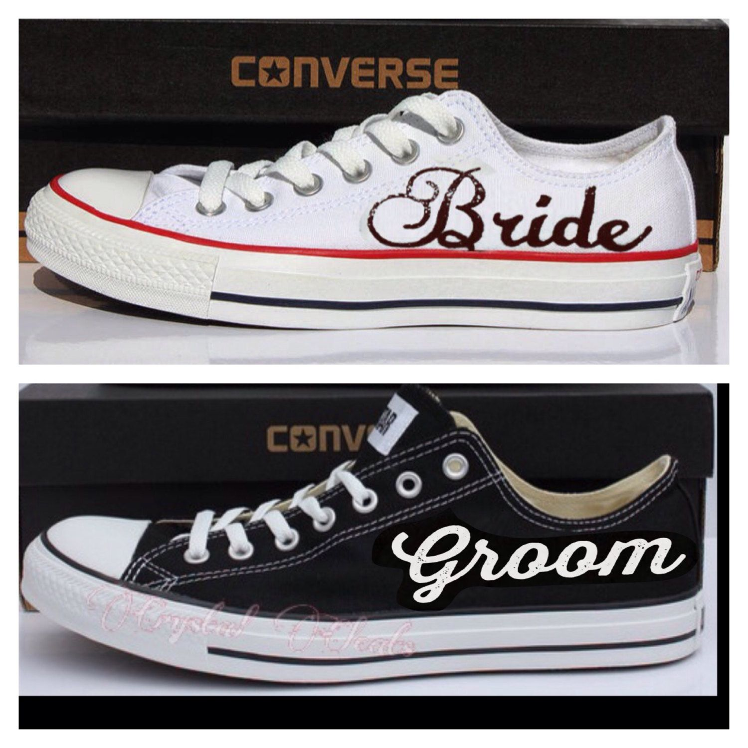 Hochzeits Sneaker 2 Pairs Bride And Groom Black And White Converse All Star