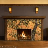 Oak Tree Glass Mosaic for Fireplace Front by Theodore ...