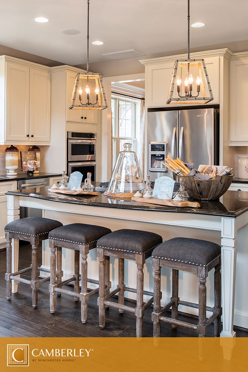 Kitchen Island Chairs Stools Rustic Chandeliers, Perfectly Hung Above The Landon's