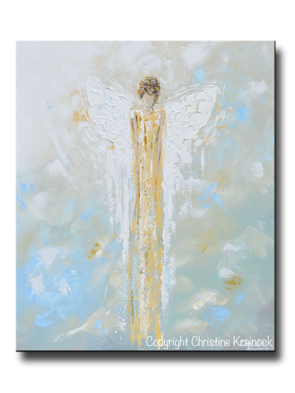 Wandbild Küchenmotiv Giclee Print Abstract Angel Painting Gold White Guardian
