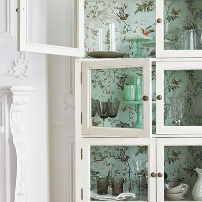 All About Wallpaper | Glass front cabinets, Shelving and Content