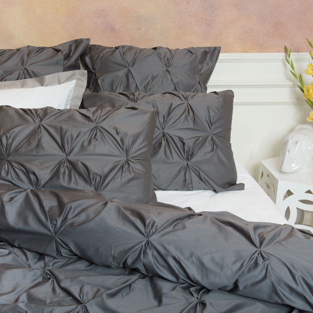 Charcoal Grey Bedding The Valencia Charcoal Gray Pintuck Duvet Cover Set Crane