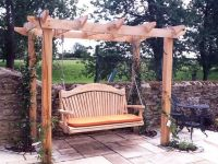 Quality wooden swing seat and Pergola | Pool landscaping ...