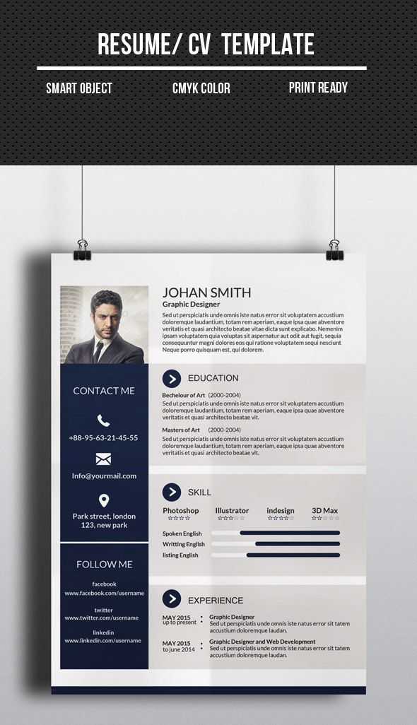 one page infographic resume template