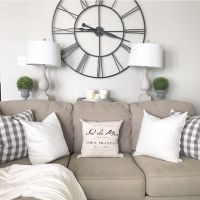 Living Room decor - rustic farmhouse style. Grey sofa ...