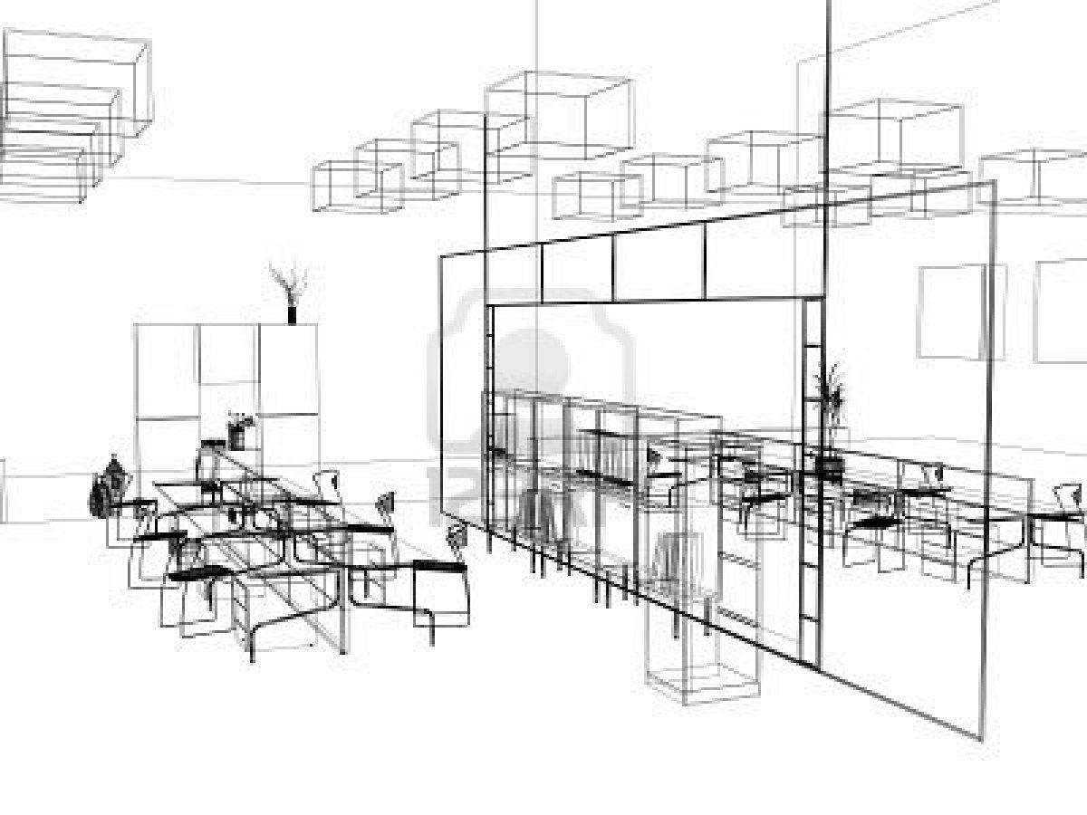 2090535 the modern office interior design sketch 3d