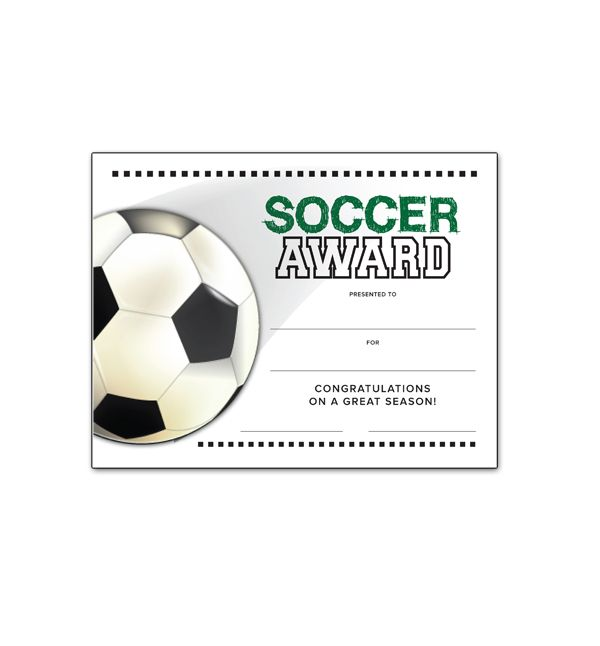 Free Printable Soccer Certificates, Soccer Awards, Soccer - first place award template