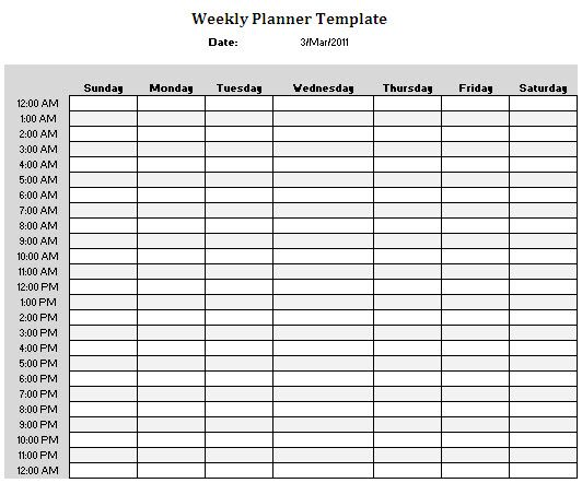 Weekly Planner Template Writing ideas, resources,prompts - hourly schedule template
