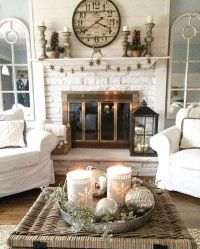 cottage style living room decorated for winter   fireplace ...