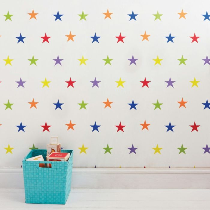 kinderzimmertapete farbige sterne wanddeko ideen Kinderzimmer - kinderzimmer tapete ideen