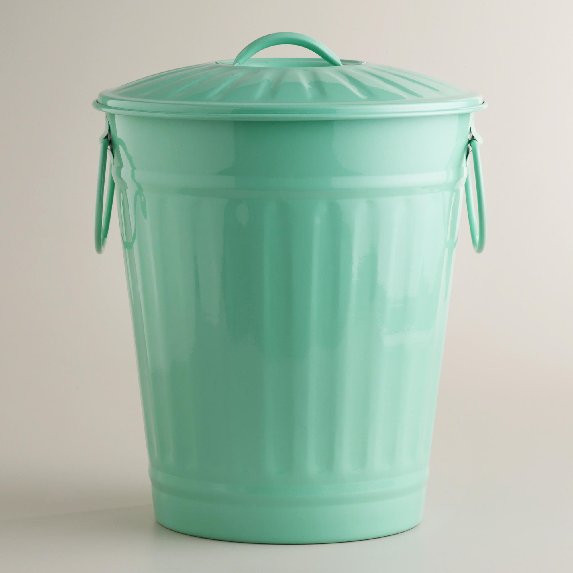 Vintage Kitchen Trash Can Mint Retro Galvanized Trash Can World Mint And World Market