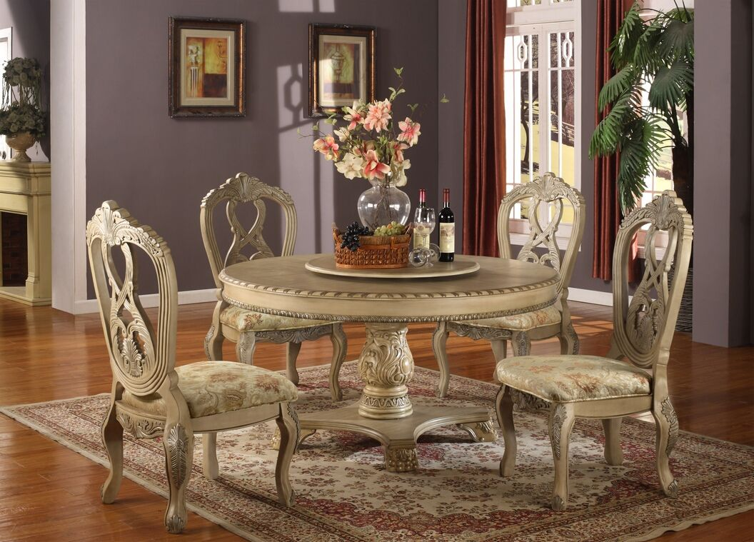 white round kitchen table 5 pc Charissa II collection antique white wood round pedestal dining table set with intricate carvings