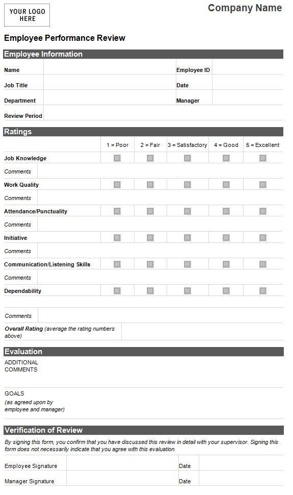 Employee Evaluation Template Employee Performance Evaluation - sample employee appraisal form