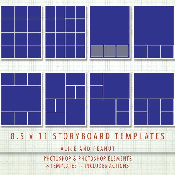85x11 - 8 x PSD Storyboard Photographer \ Digital Scrapbook - digital storyboard templates