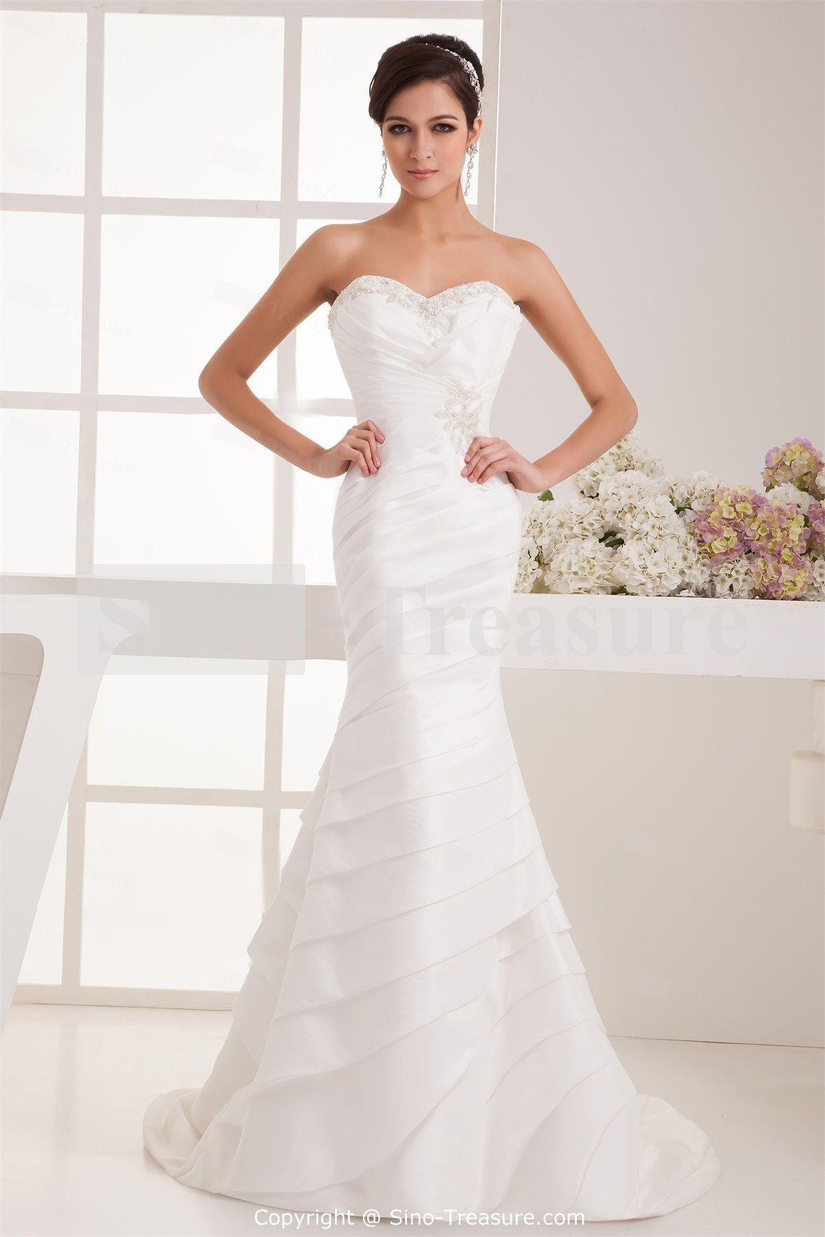 trumpet style wedding dress White Beading Mermaid Trumpet Sweetheart Taffeta Wedding Dress Wedding Events Wedding Dresses