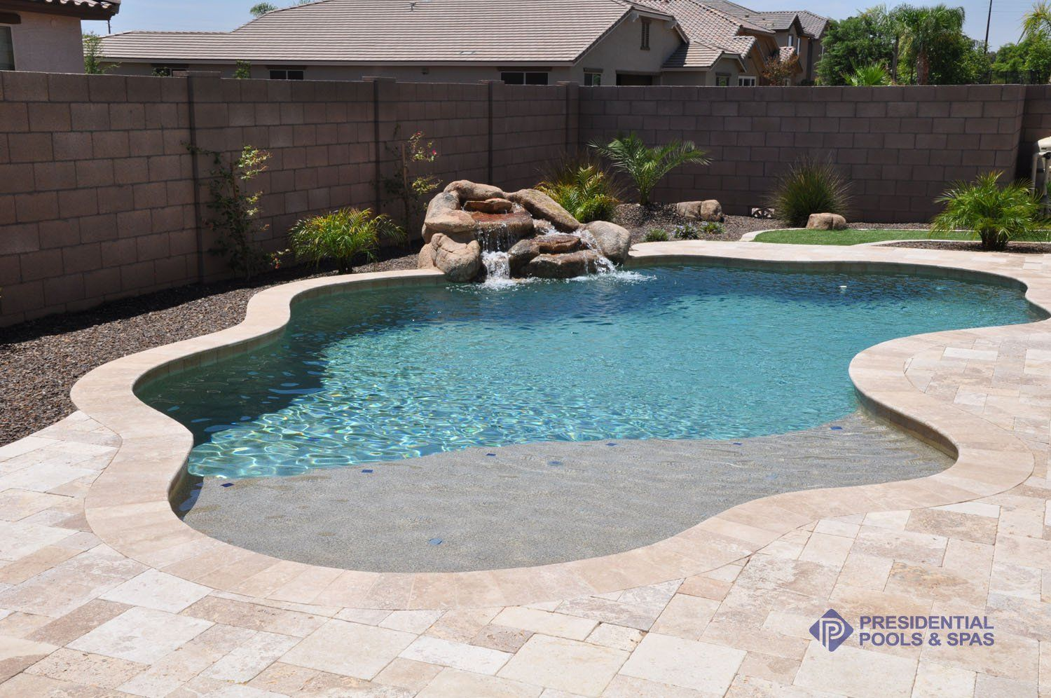 simple and small pool with sand bar by presidential pools