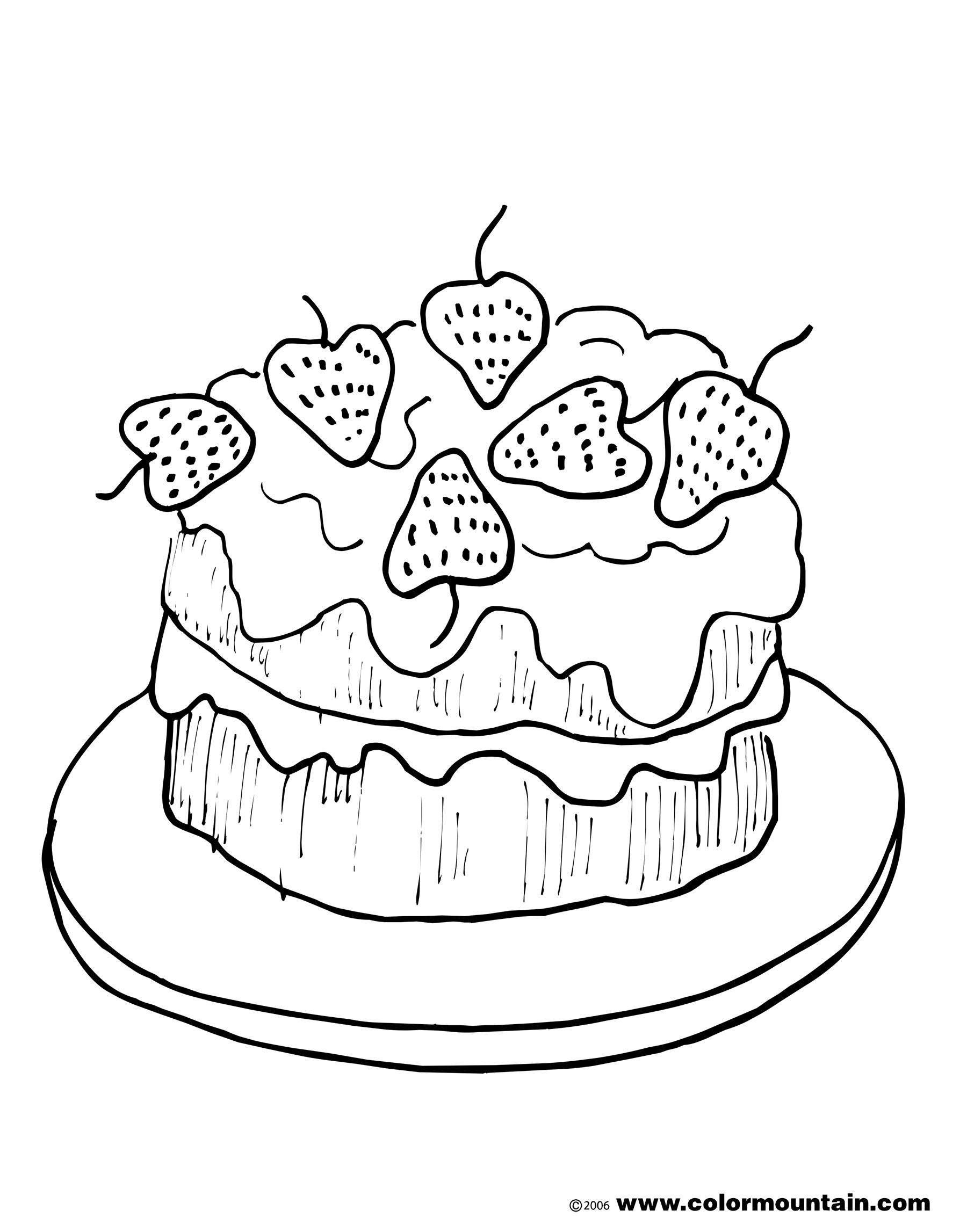 Drawing Cake Colour Strawberry Cake Coloring Picture Strawberry Coloring
