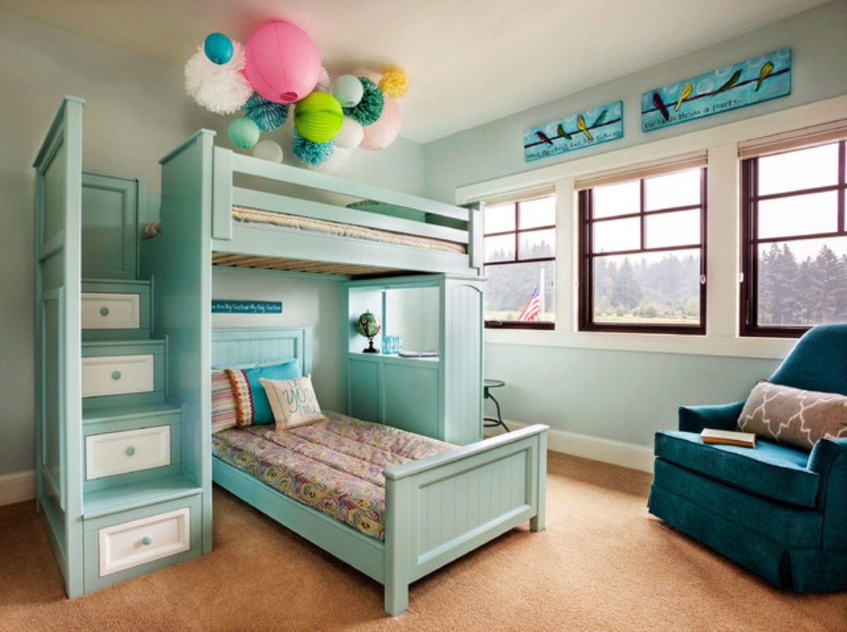 Bunk Beds With Storage Space Baby Blue Colored Twin Space Saver L Shaped Bunk Beds With