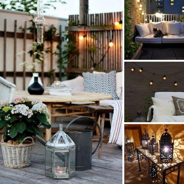 Ideen für romantische Balkon beleuchtung Laternen-aus Holz-Metall - lounge gartenmobel 22 interessante ideen fur paradiesischen garten