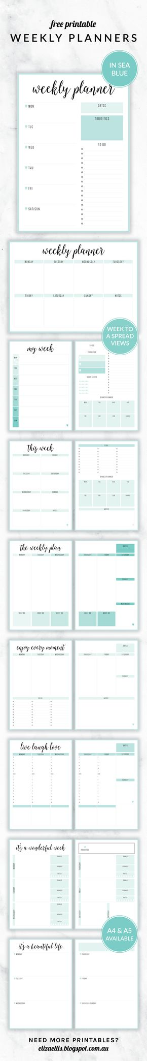 Free Printable Irma Weekly Planners in the color Sea by Eliza - free printable weekly planner