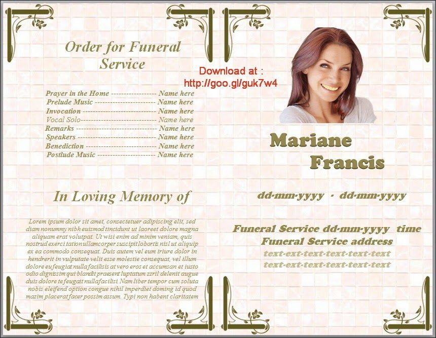 Where To Get Free Template Funeral Program In Spanish For MS Word - free download funeral program template