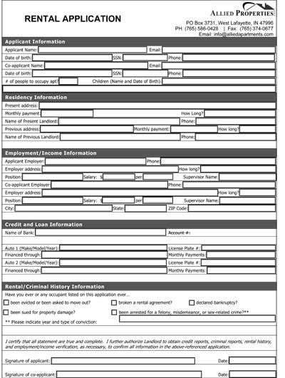 Printable Sample Rental Application Form Form Real Estate Forms - lease application form