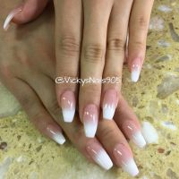 Coffin UV Gel nails with ombr manicure #nails # ...
