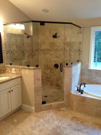 Frameless corner glass shower. dual shower heads. garden ...