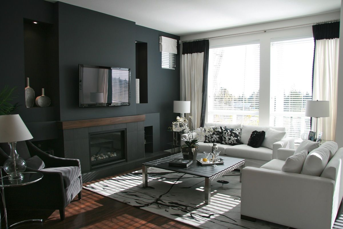 Decorating with navy living room paint colors blue walls and living room remodel wooden floors fitted gray two seater sofa black lights white sofas a table