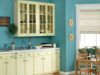 Sky blue wall paint with cream white for cabinets ...