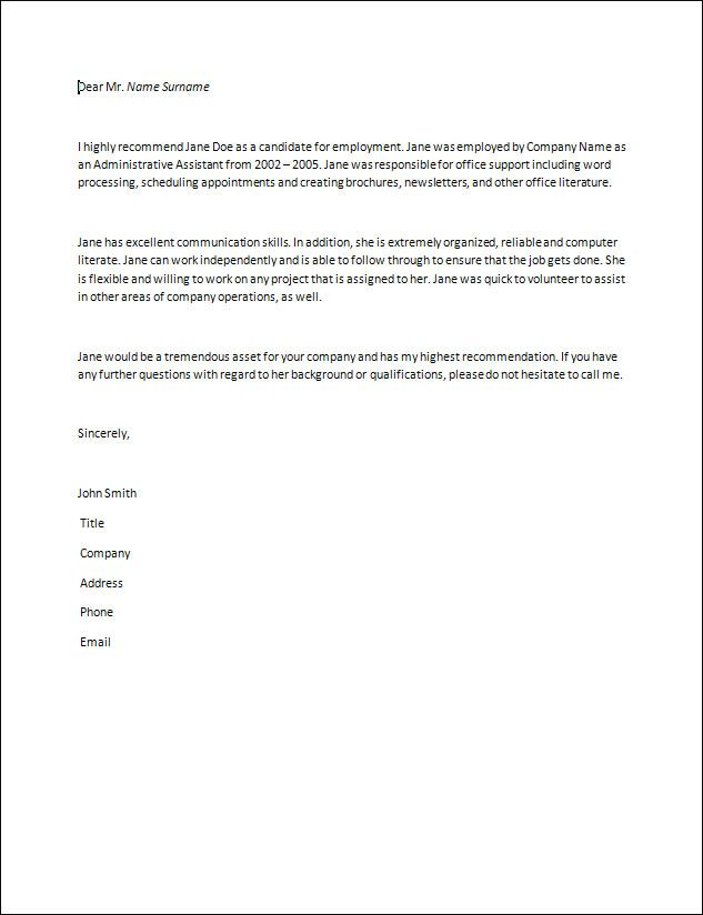 Recommendation Letter resume GL Accountant Pinterest - how to write a reference on a resume