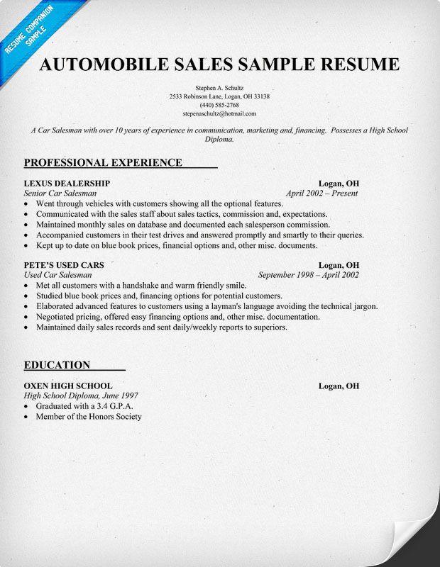 automobile sales resume sample resume samples across all