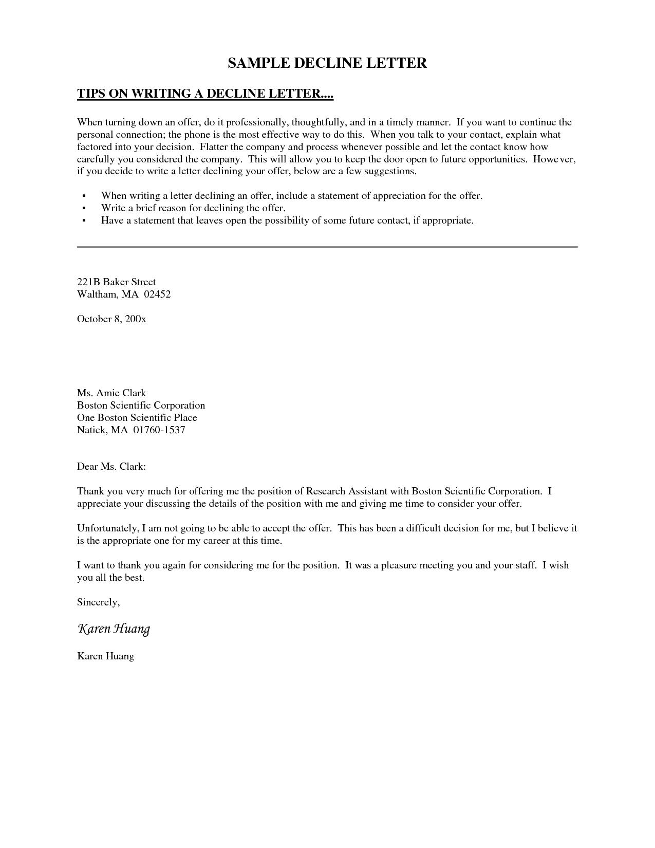 decline letter sample