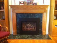Traditional Oak Surround Green Marble Mendota Fireplace ...