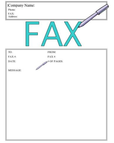 This printable fax cover sheet shows a pen writing the word Fax in - business fax cover sheet