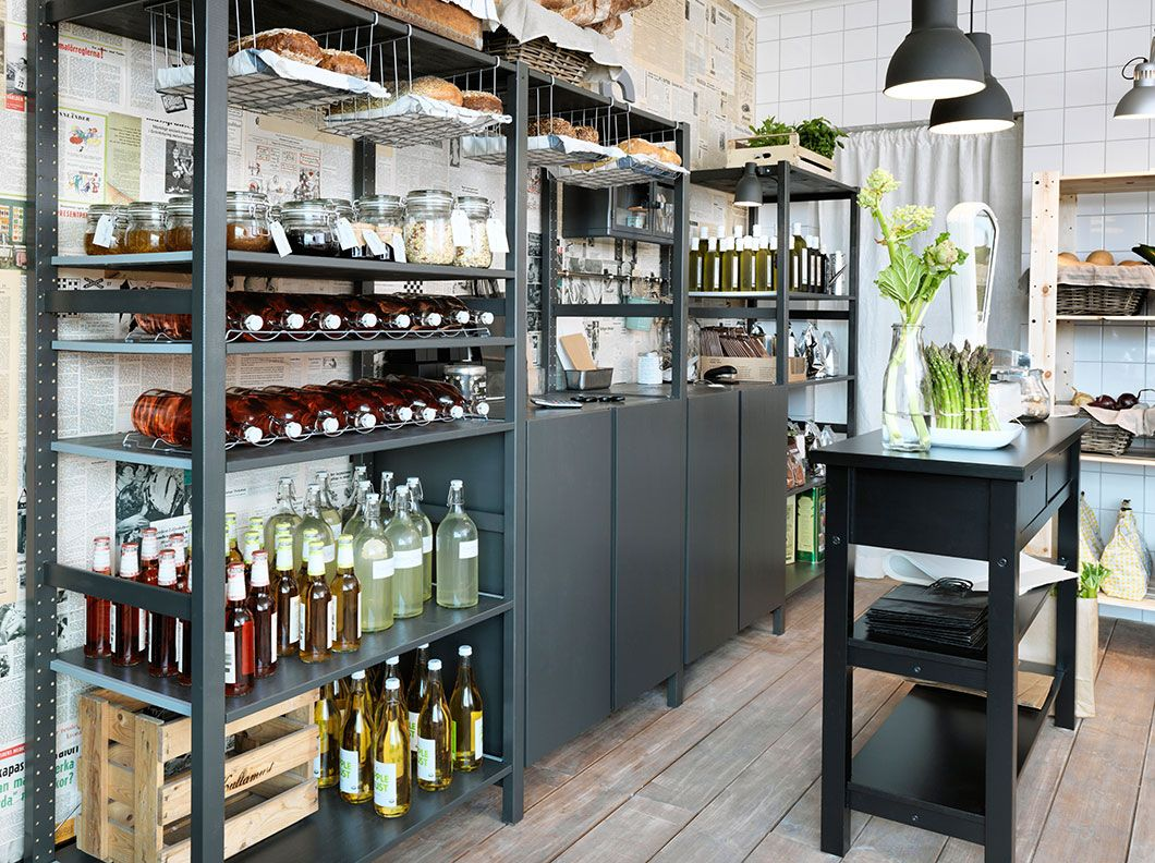 Bruynzeel Rangements Ikea Ivar In Black A Small Grocery Store With Shelving