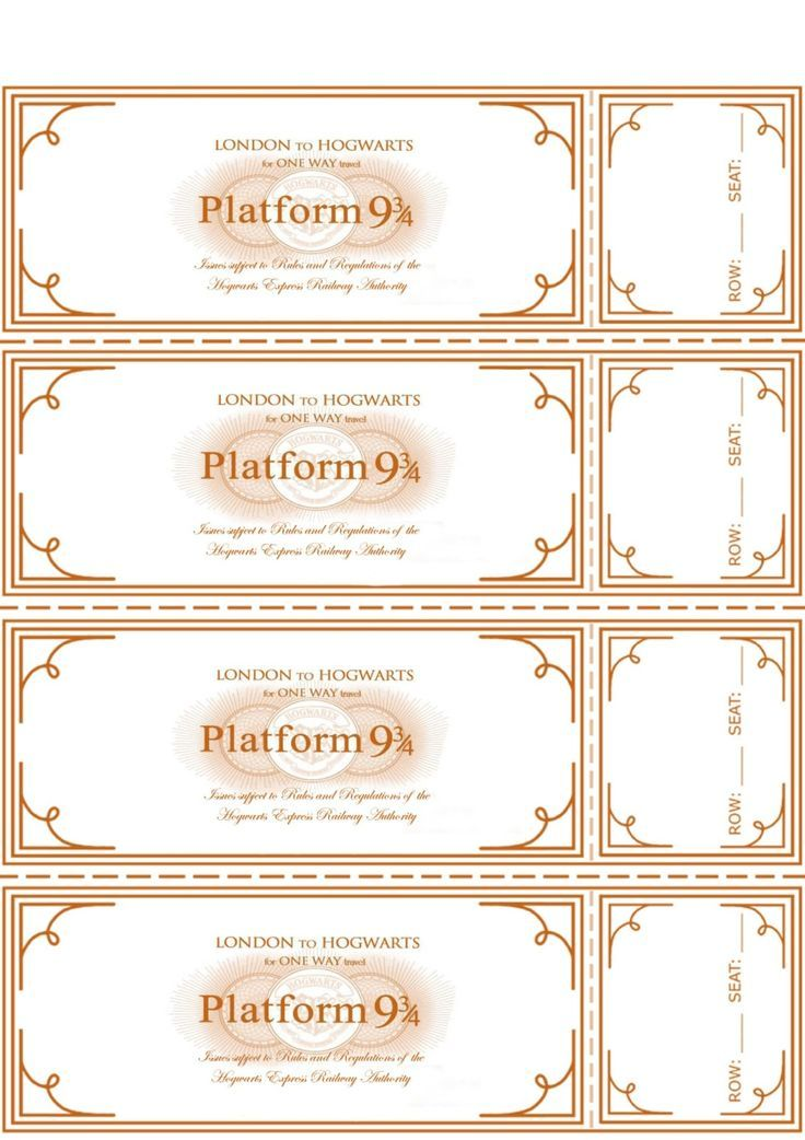 Free Harry Potter Hogwarts Express Ticket Template plus links to - free ticket template printable