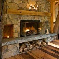 Stone fireplace with wood storage below | My Style ...