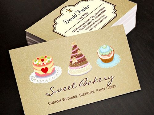 Wedding Birthday Cakes Business Card Template Bakery Business - birthday cake card template