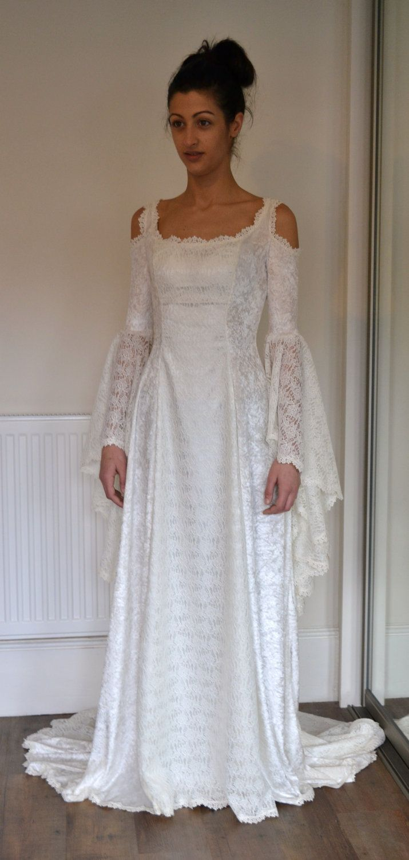 elvish wedding dress Medieval Lace Elvish Pre Raphaelite Gothic Renaissance Larp Faery Wedding Dress Very Pretty