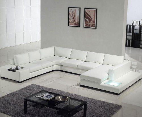 VIG Furniture T35 White Top Grain Leather Living Room Sectional - white leather living room furniture