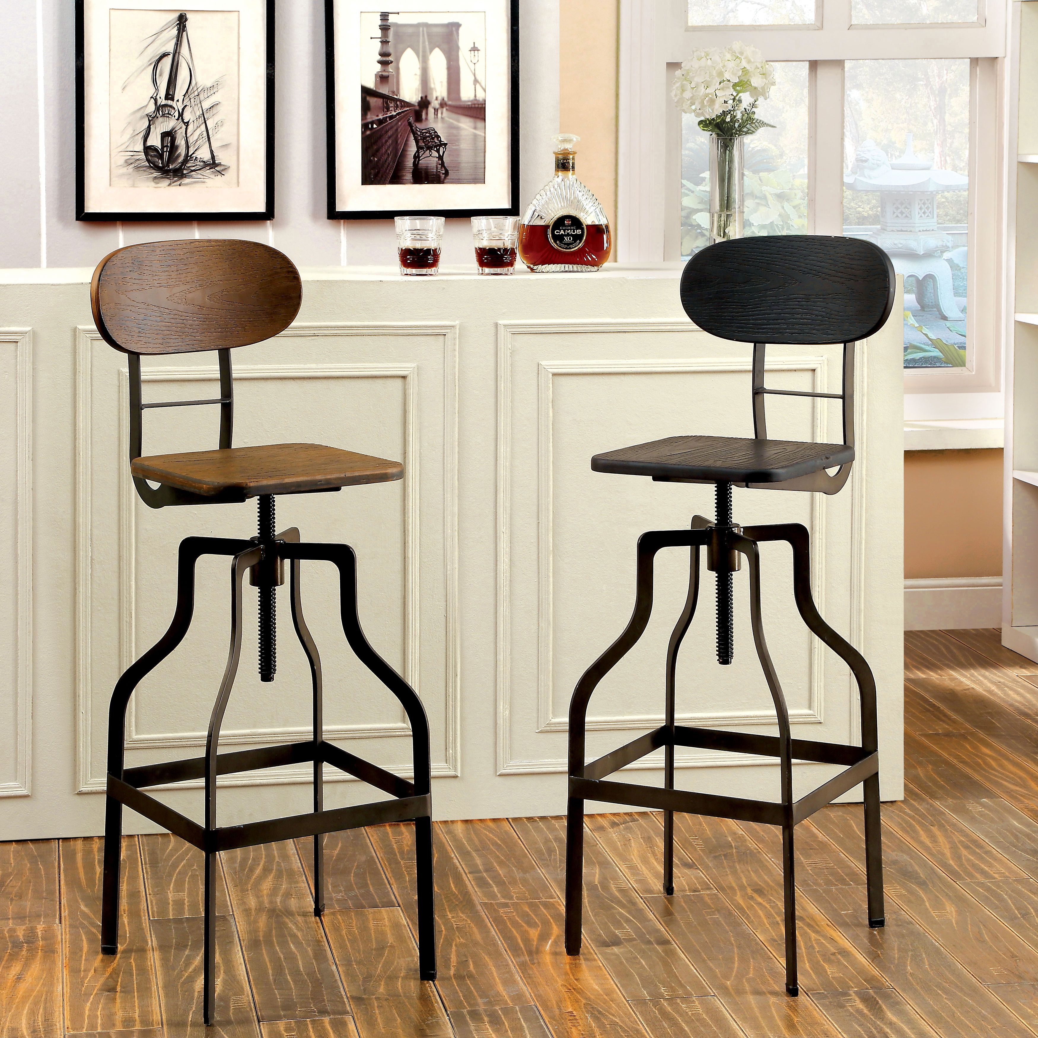 Industrial Look Chairs Furniture Of America Damien Industrial Swivel Bar Chair By