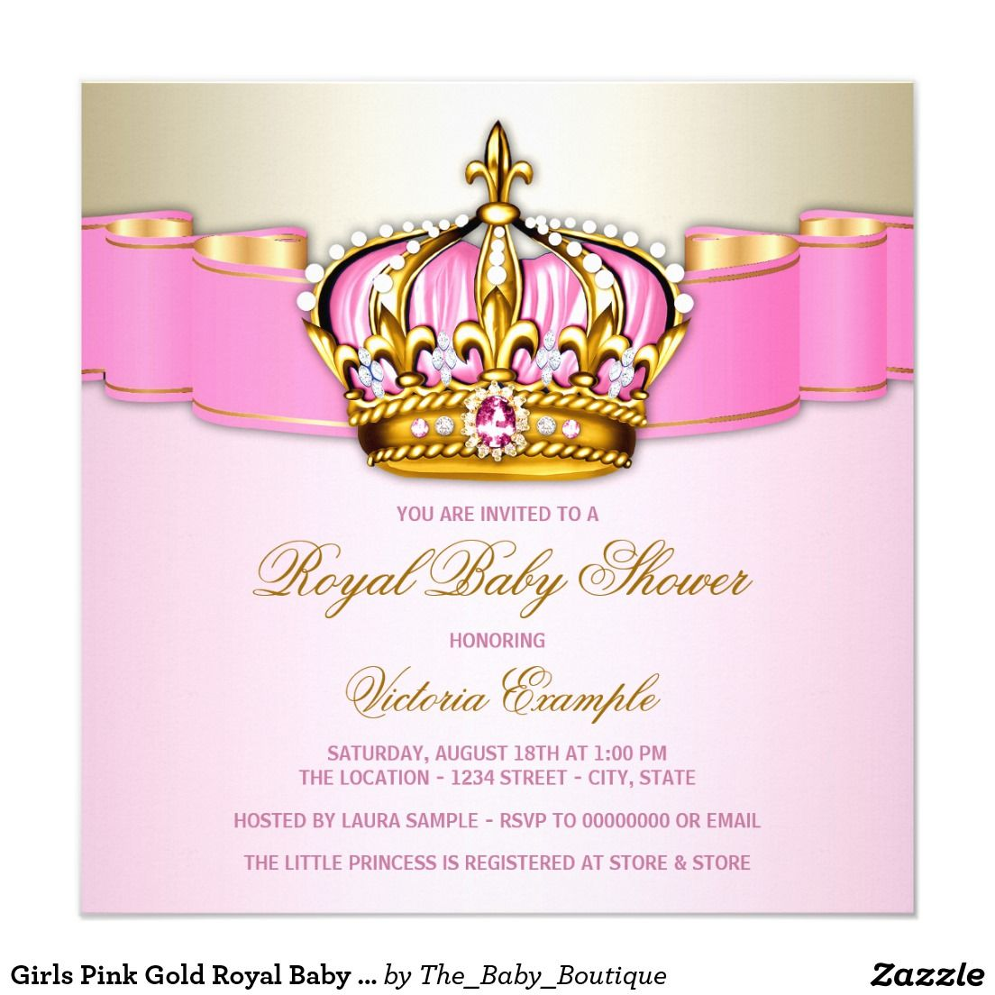 Girls Pink Gold Royal Baby Shower Card