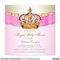 Girls Pink Gold Royal Baby Shower Card